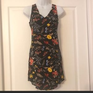 Black and floral sleeveless dress.